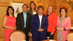 Speaker at the Annual Peace Conference 2015 with Congresswoman Eddie Bernice Johnson and Abigail Disney.